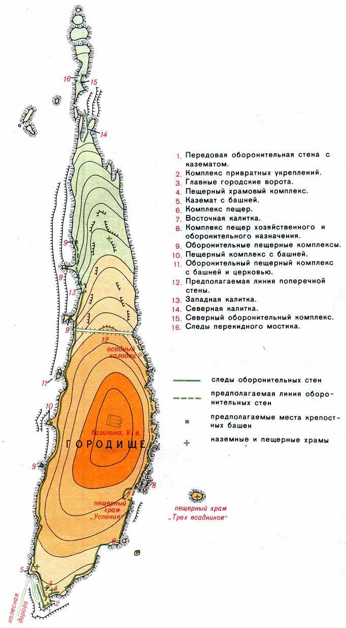 Схема пещерного города Эски-Кермен